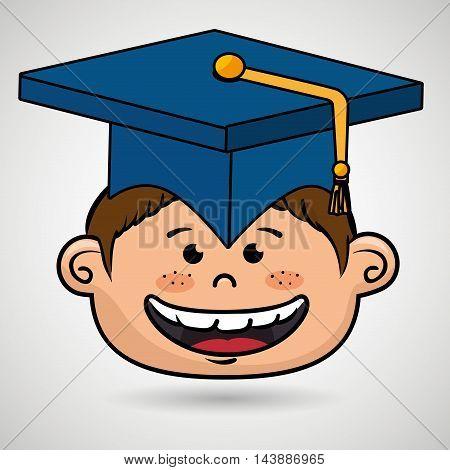 boy student graduation icon vector illustration design