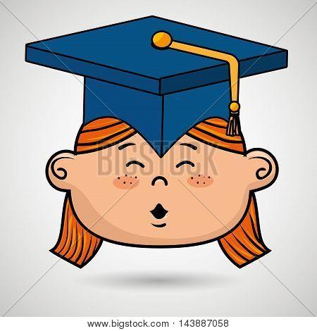 girl student graduation icon vector illustration design
