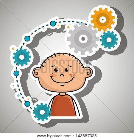 cartoon boy gears icon vector illustration design