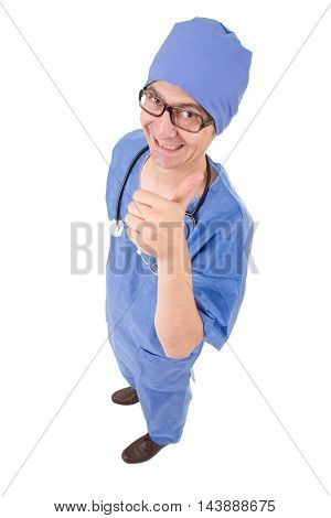 silly male doctor going thumb up, full length, isolated on white