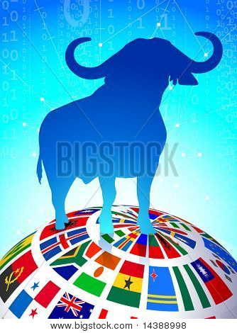 Bull Market on Flags Globe Original Vector Illustration