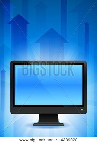 Computer-Monitor auf den blauen Pfeil Hintergrund Original-Vektor-Illustration-EPS10