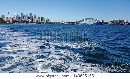 view of Sydney Habour from the sea