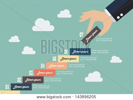 Business hand insert a piece of staircase infographic. Financial business plan