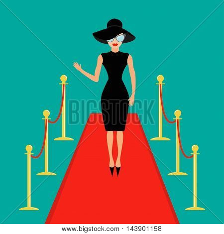 Red carpet and rope barrier golden stanchions turnstile Isolated Woman in black hat sunglasses waving. Rich beautiful celebrity girl. Fashion model. Green background. Flat design Vector