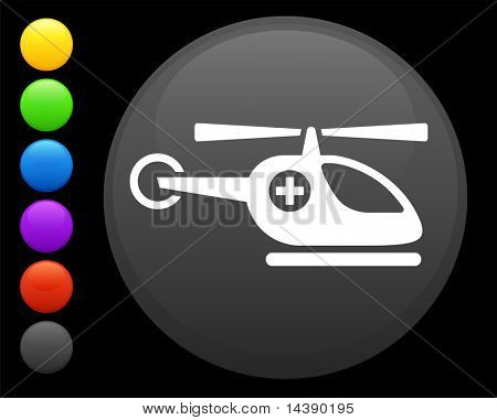 helicopter icon on round internet button original vector illustration 6 color versions included
