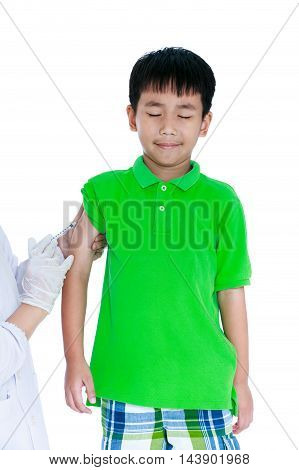 Asian Illness Boy Get An Injection, Vaccination. Isolated On White Background.