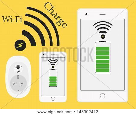 Wireless wifi phone and tablet charging. Innovative technologies. Socket charger from a distance without wires. Vector illustration. Smart connection. Flat style.