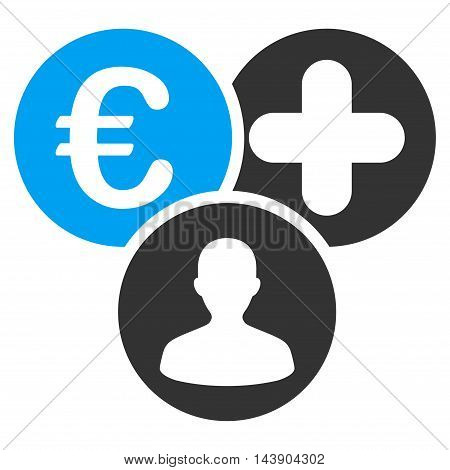 Euro Medical Expences icon. Vector style is bicolor flat iconic symbol with rounded angles, blue and gray colors, white background.