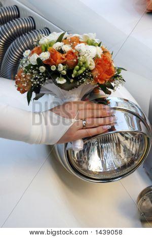 Headlight Of A Wedding Limousine