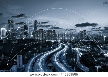 blue tone city scape and network connection concept Image ID:411942079