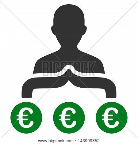 Euro Capitalist icon. Vector style is bicolor flat iconic symbol with rounded angles, green and gray colors, white background.