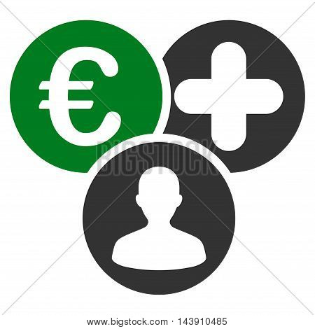 Euro Medical Expences icon. Vector style is bicolor flat iconic symbol with rounded angles, green and gray colors, white background.