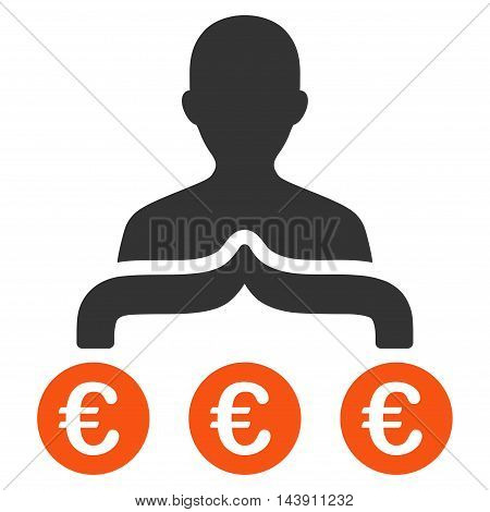 Euro Capitalist icon. Vector style is bicolor flat iconic symbol with rounded angles, orange and gray colors, white background.