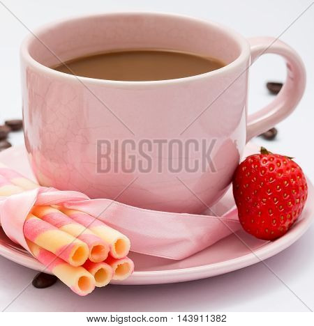 Coffee And Strawberry Represents Delicious Cracker And Biscuits
