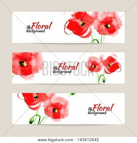 Banners with watercolor paint red poppy. Floral vector illustration