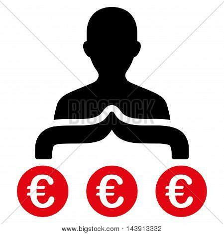 Euro Capitalist icon. Vector style is bicolor flat iconic symbol with rounded angles, intensive red and black colors, white background.
