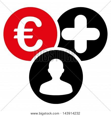 Euro Medical Expences icon. Vector style is bicolor flat iconic symbol with rounded angles, intensive red and black colors, white background.