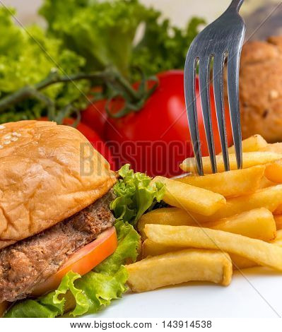Chips With Burger Means Ready To Eat And Bun