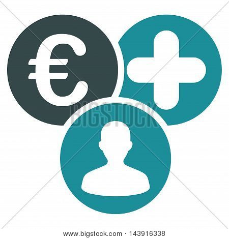 Euro Medical Expences icon. Vector style is bicolor flat iconic symbol with rounded angles, soft blue colors, white background.