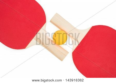 pingpong racket and a ball on white with clipping path