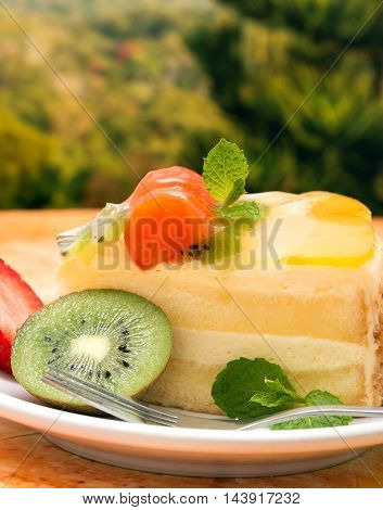 Strawberry Fruit Gateau Represents Desserts Celebration And Creamy