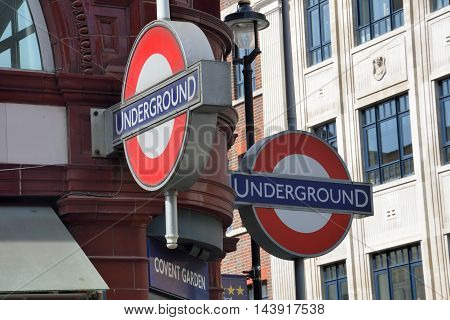 Covent Garden London England United Kingdom - August 16 2016: London Underground sign at Covent Garden
