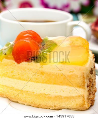 Moist Strawberry Cake Indicates Fresh Cream Gateau And Bakery