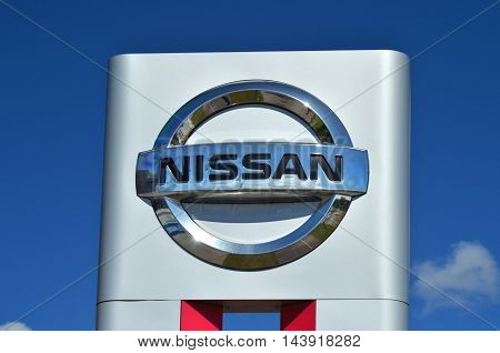 CIRCA AUGUST 2016 - GDANSK: Logo of Nissan. Nissan Motor Company Ltd is Japanese multinational automobile manufacturer headquartered in Nishi-ku, Yokohama, Japan. Nissan was founded in 1933.