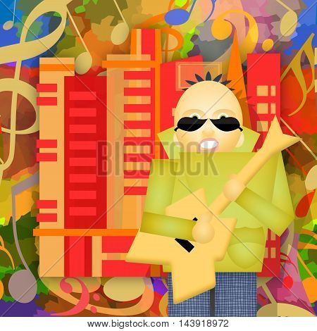 Rock city guitar player playing music on the urban street abstract art illustration
