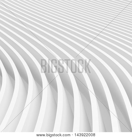 Abstract Architecture Background. 3d Illustration of White Circular Building. Modern Geometric Wallpaper
