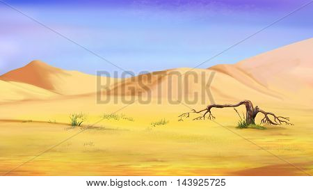 Digital Painting Illustration of a small dried tree in the desert. Cartoon Style Character Fairy Tale Story Background
