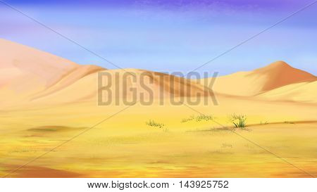 Digital Painting Illustration of the Sand dunes under a blue sky in a desert. Cartoon Style Character Fairy Tale Story Background.