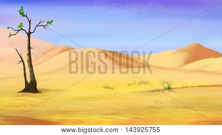 Digital Painting Illustration of a Small Lonely Tree in a Desert in a hot summer day. Cartoon Style Character Fairy Tale Story Background.