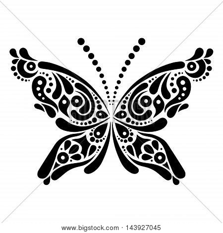 Beautiful butterfly tattoo. Artistic pattern in butterfly shape