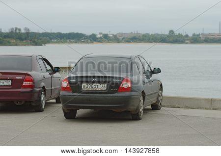 GORODETS, NIZHNY NOVGOROD OBLAST, RUSSIA - AUGUST 14, 2016: Hyundai Elantra parked on city street.
