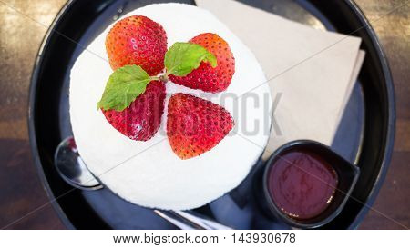 Refreshing iced strawberry dessert on top view stock photo