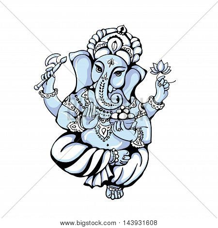 vector isolated image of Hindu God Ganesh on white background. Ganesh Chaturthi. It is used for postcards prints textiles tattoo.