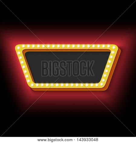 Vintage neon yellow frame. 3d retro trapeze with pure black background for the text. Neon red lights on the black wall. Oemnaya frame symbol for your banner. Design ellement. illustration