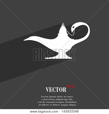 Alladin Lamp Genie Symbol Flat Modern Web Design With Long Shadow And Space For Your Text. Vector