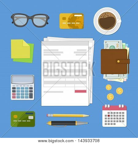 Concept of tax payment and invoice. Bills and checks, glasses, credit bank cards, wallet with cash money, calculator, stickers, pencil, pen, calendar, gold coins, coffee cup. Vector illustration.