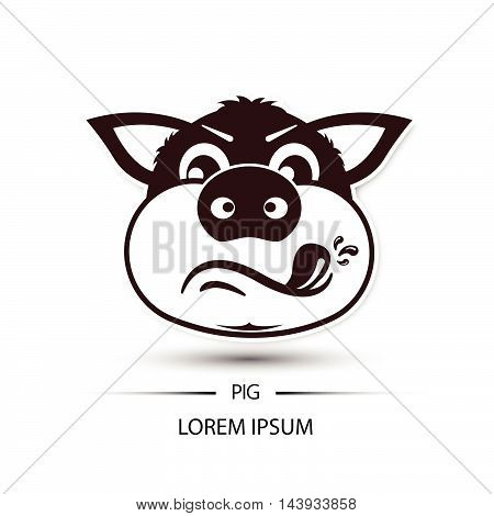 Pig Face Touchy Logo And White Background Vector