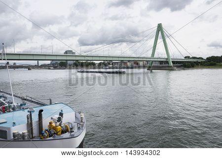 River Rhine Cologne Severinsbruecke water ship transportation