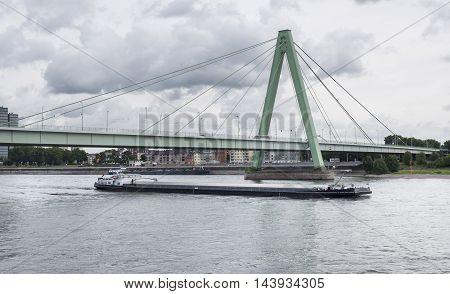 Severinsbruecke Cologne Germany River Rhine water ship