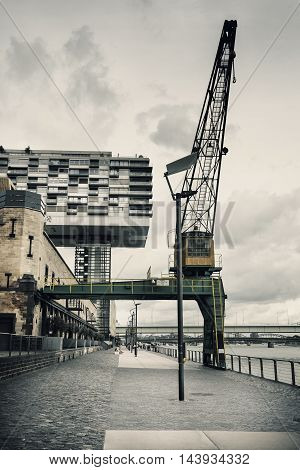 Kranhaus at River Rhine Cologne Germany pier