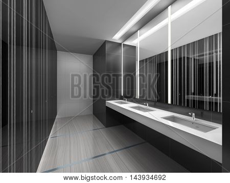 3d illustration of sleek restroom with mirror