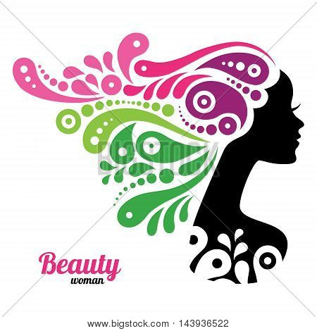 Beautiful woman girl silhouette logo vector illustration