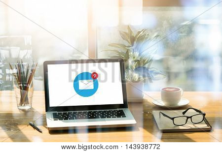 Office Workplace , Email Icon On Laptop And Smart