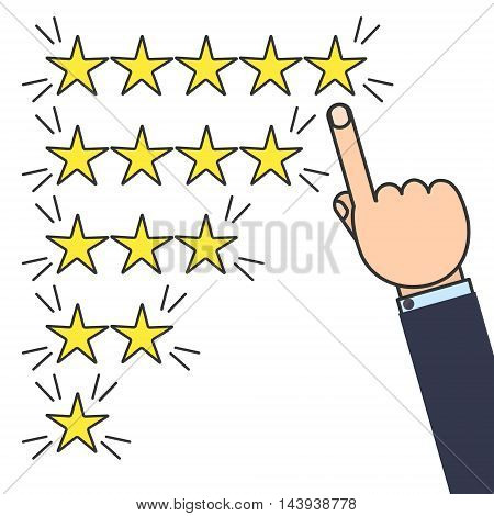 Customer good positive review design template on white background. Rating evaluation vector symbol. Five star business icon. Male hand pointing to five stars. Likes, approval, positive feedback sign
