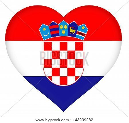 Illustration of the national  flag of Croatia shaped like a heart